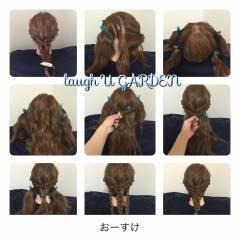 セミロング 三つ編み ヘアアレンジ 大人かわいい ヘアスタイルや髪型の写真・画像