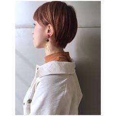 オレンジベージュ ショート オレンジ ショートボブ ヘアスタイルや髪型の写真・画像