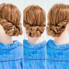 まとめ髪 ロング アップスタイル 三つ編み ヘアスタイルや髪型の写真・画像