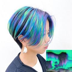 オーロラカラー カラーバター ハンサムショート ショート ヘアスタイルや髪型の写真・画像