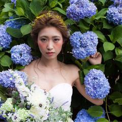ロング 結婚式 ふわふわ ヘアアレンジ ヘアスタイルや髪型の写真・画像