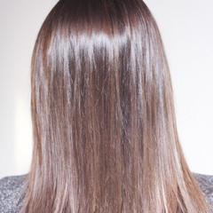 インナーカラーパープル ピンクパープル セミロング パープル ヘアスタイルや髪型の写真・画像
