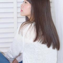 ストレート ガーリー 艶髪 セミロング ヘアスタイルや髪型の写真・画像