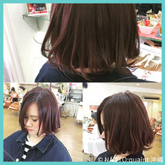 艶髪 パープル ボブ アッシュ ヘアスタイルや髪型の写真・画像