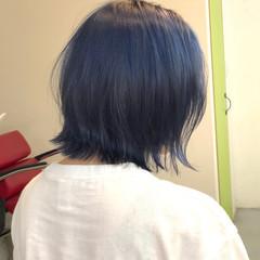 ネイビーブルー ボブ ネイビー ストリート ヘアスタイルや髪型の写真・画像