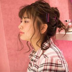 ガーリー 簡単ヘアアレンジ 大人女子 ミディアム ヘアスタイルや髪型の写真・画像