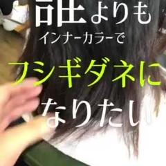 ミニボブ グリーン ミディアム インナーカラー ヘアスタイルや髪型の写真・画像