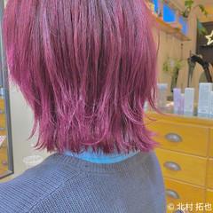 切りっぱなしボブ レイヤーボブ ブリーチオンカラー ボブ ヘアスタイルや髪型の写真・画像
