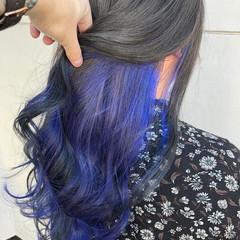 グレージュ ラベンダー 個性的 ロング ヘアスタイルや髪型の写真・画像
