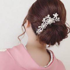 セミロング 結婚式 上品 ヘアアレンジ ヘアスタイルや髪型の写真・画像