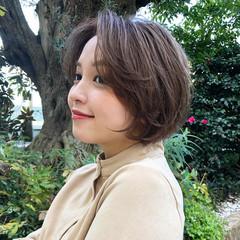 前髪なし ミニボブ 丸みショート ニュアンスヘア ヘアスタイルや髪型の写真・画像