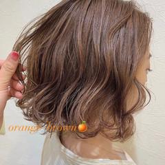 切りっぱなしボブ ストリート 髪質改善トリートメント オレンジブラウン ヘアスタイルや髪型の写真・画像
