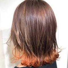 カラートリートメント ブリーチカラー ボブ 外ハネボブ ヘアスタイルや髪型の写真・画像