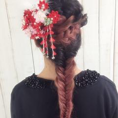 フィッシュボーン 袴 ヘアアレンジ ロープ編み ヘアスタイルや髪型の写真・画像
