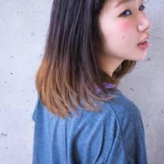 黒髪 ハイトーン グラデーションカラー アッシュ ヘアスタイルや髪型の写真・画像