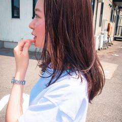 ピンクバイオレット ロング ナチュラル ピンクアッシュ ヘアスタイルや髪型の写真・画像