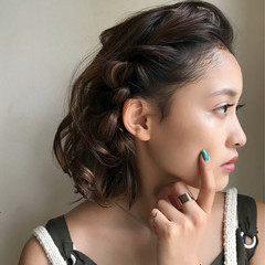 女子会 ヘアアレンジ デート ボブ ヘアスタイルや髪型の写真・画像