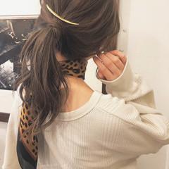 ブラウン ヘアアレンジ 簡単ヘアアレンジ ヘルシー ヘアスタイルや髪型の写真・画像