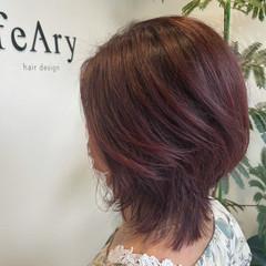 ミディアム 白髪染め ピンクブラウン ナチュラル ヘアスタイルや髪型の写真・画像