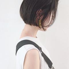 ショート 暗髪 大人女子 ショートボブ ヘアスタイルや髪型の写真・画像