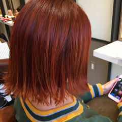 イエロー オレンジ ボブ ストリート ヘアスタイルや髪型の写真・画像