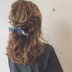 ヘアアレンジ セミロング ショート ハーフアップ ヘアスタイルや髪型の写真・画像