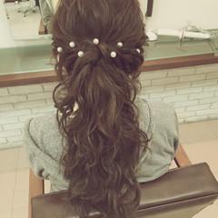 外国人風 ロング ヘアアレンジ 編み込み ヘアスタイルや髪型の写真・画像
