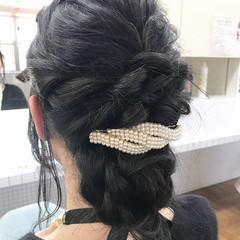 バレッタ 結婚式 黒髪 ロング ヘアスタイルや髪型の写真・画像