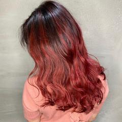 外国人風カラー セミロング バレイヤージュ エレガント ヘアスタイルや髪型の写真・画像