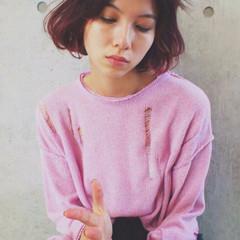 ガーリー ピンク ボブ レッド ヘアスタイルや髪型の写真・画像