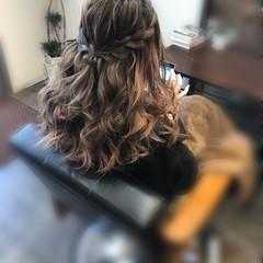 ハーフアップ 編み込みヘア ヘアアレンジ セミロング ヘアスタイルや髪型の写真・画像