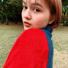 ナチュラルブラウンカラー ボブ オレンジベージュ 切りっぱなしボブ ヘアスタイルや髪型の写真・画像