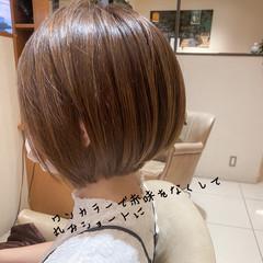 ブリーチなし 丸みショート ショート 透明感カラー ヘアスタイルや髪型の写真・画像