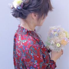 ヘアアレンジ シニヨン セミロング 結婚式 ヘアスタイルや髪型の写真・画像