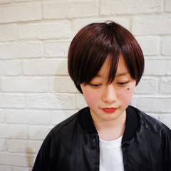 大人かわいい ショート レッド ショートボブ ヘアスタイルや髪型の写真・画像