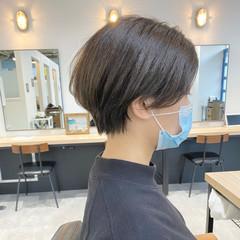 モード 小顔ショート ショート 前髪なし ヘアスタイルや髪型の写真・画像