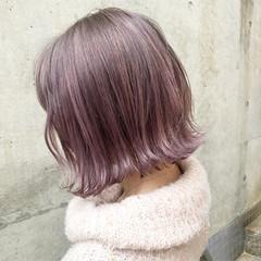 ピンク ボブ ベージュ ガーリー ヘアスタイルや髪型の写真・画像