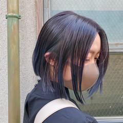 ボブ パープル 裾カラー インナーカラー ヘアスタイルや髪型の写真・画像