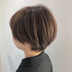 ナチュラル ショートボブ ショートヘア 艶カラー ヘアスタイルや髪型の写真・画像
