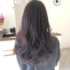 パープル ウェーブ フェミニン ロング ヘアスタイルや髪型の写真・画像
