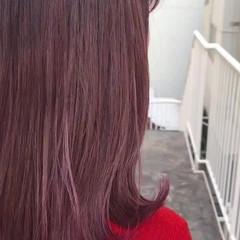 クリスマス パープル ナチュラル ピンク ヘアスタイルや髪型の写真・画像