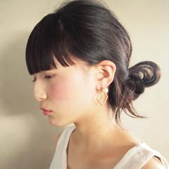 簡単ヘアアレンジ ショート ヘアアレンジ 前髪パッツン ヘアスタイルや髪型の写真・画像