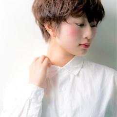 ナチュラル 簡単 ショート コーラル ヘアスタイルや髪型の写真・画像