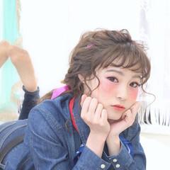 セミロング ヘアアクセ ショート 簡単ヘアアレンジ ヘアスタイルや髪型の写真・画像