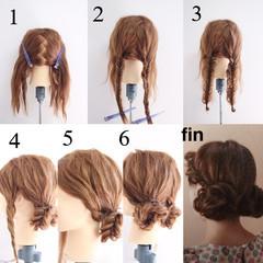 フェミニン セミロング 簡単ヘアアレンジ ゆるふわ ヘアスタイルや髪型の写真・画像