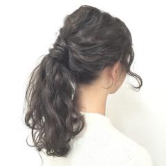 ヘアアレンジ フェミニン セミロング ゆるふわ ヘアスタイルや髪型の写真・画像