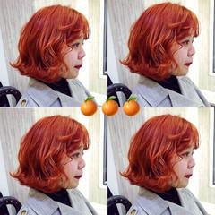 ナチュラル オレンジ ダブルカラー ショートヘア ヘアスタイルや髪型の写真・画像