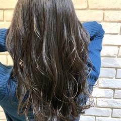 地毛風カラー ナチュラル ロング アッシュグレージュ ヘアスタイルや髪型の写真・画像