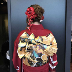 成人式 セミロング 振袖 アップスタイル ヘアスタイルや髪型の写真・画像