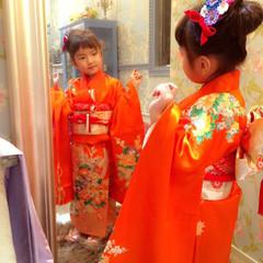 着物 子供 簡単 セミロング ヘアスタイルや髪型の写真・画像